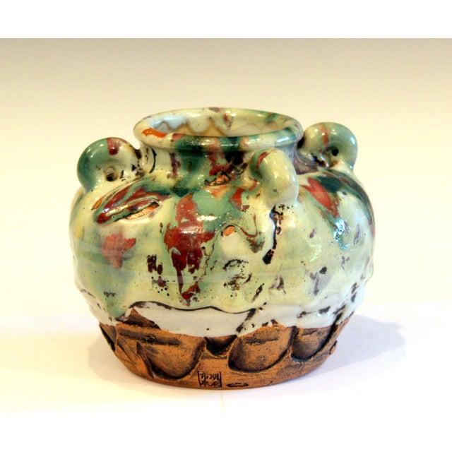 Awaji Pottery Manipulated Jar Gloppy Drip Glaze Zen Tea Ceremony Vase For Sale - Image 11 of 12