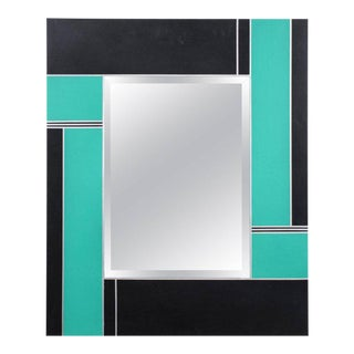 Mondrian Style Green and Black Lacquered Mirror
