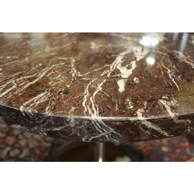 Vintage Zographos Maroon Marble Top Side Table - Image 4 of 5