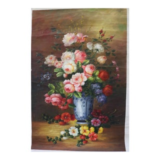 Late 20th Century Vintage Dutch Style Floral Still Life Oil Painting For Sale