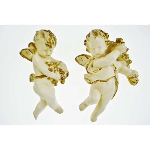 Vintage Ceramic Cherub Lavabo Wall Fountain Wall Pocket - Image 9 of 10