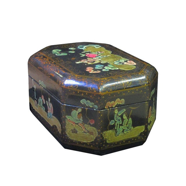 Vintage Handmade Chinese Octagon Painting Scenery Decorative Lacquer Box For Sale - Image 4 of 6