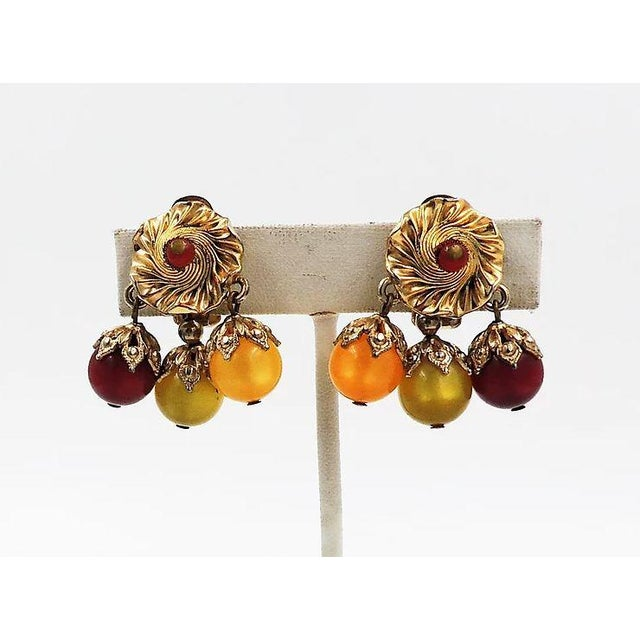 Napier Napier Red, Green & Yellow Moonglow Drops Earrings For Sale - Image 4 of 7