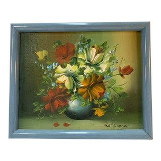 1970s Vintage G. Stevens Floral Still Life on Canvas Signed Painting For Sale