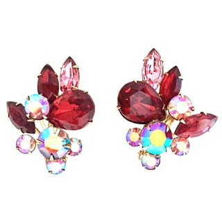 1950's Beaujewels Gold & Swarovski Crystal Abstract Floral Earrings For Sale