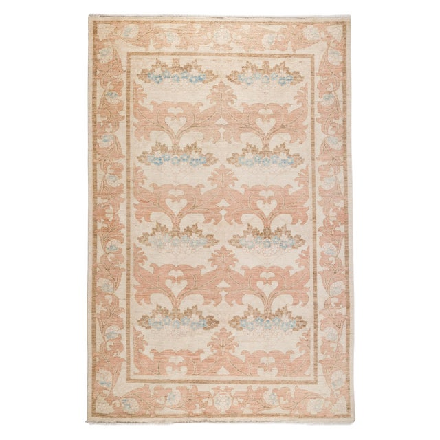 """Contemporary Arts & Crafts Pink Hand-Knotted Rug- 6' 1"""" X 9' 4"""" For Sale - Image 4 of 4"""