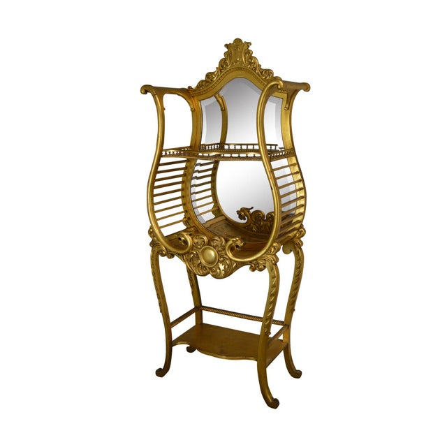Victorian Era French Louis XV Style Gilt Mirror Back Etagere For Sale - Image 13 of 13