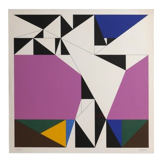 Geometric Abstract Serigraph by Walter Allner