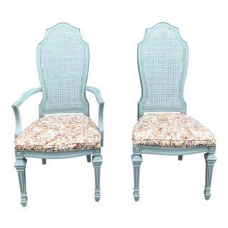 Vintage French Blue Cane With Upholstered Seat Chairs - a Pair For Sale