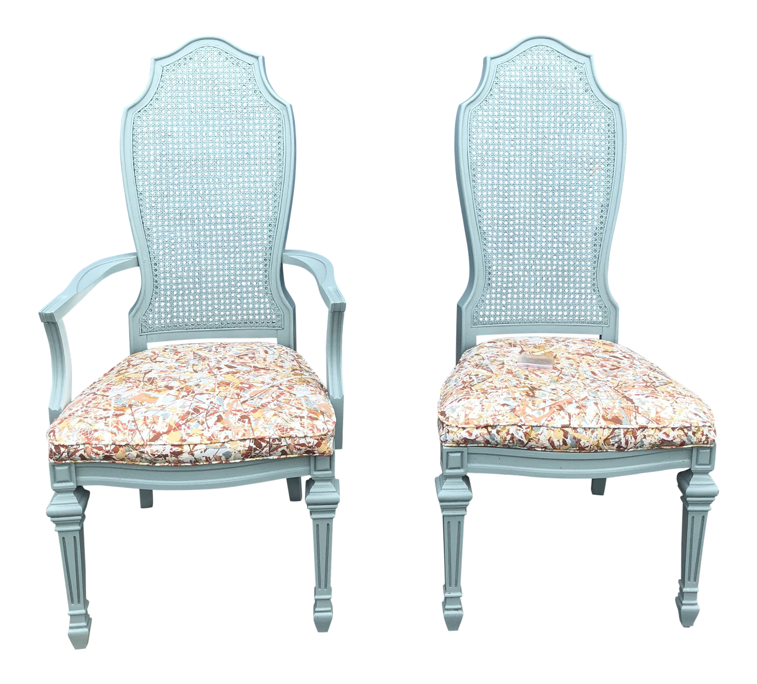 Beau Vintage French Blue CaneWith Upholstered Seat Chairs   A Pair