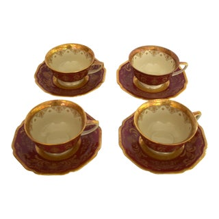 Heinrich and Co. Selb H & C Bavaria German Porcelain Red and Gold Encrusted Tea Cup and Saucer - Set of 4 For Sale