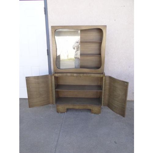 Art Deco Mid-Century James Mont Petite China Cabinet Hutch Server Sideboard For Sale - Image 3 of 11