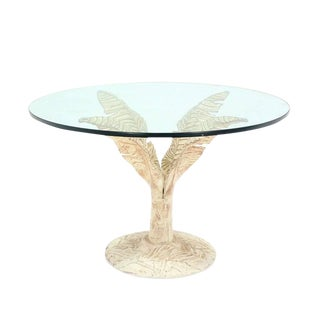 Painted Cast Aluminum Banana Leaf Base Center Table 3/4 Inch Thick Round Glass For Sale