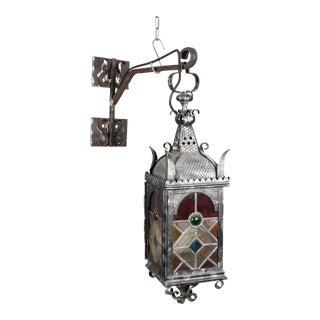 German Art Nouveau Wrought Iron Entrance Lantern For Sale