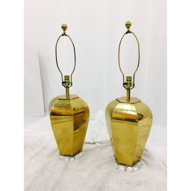 Vintage Brass & Lucite Base Lamps - Image 6 of 10