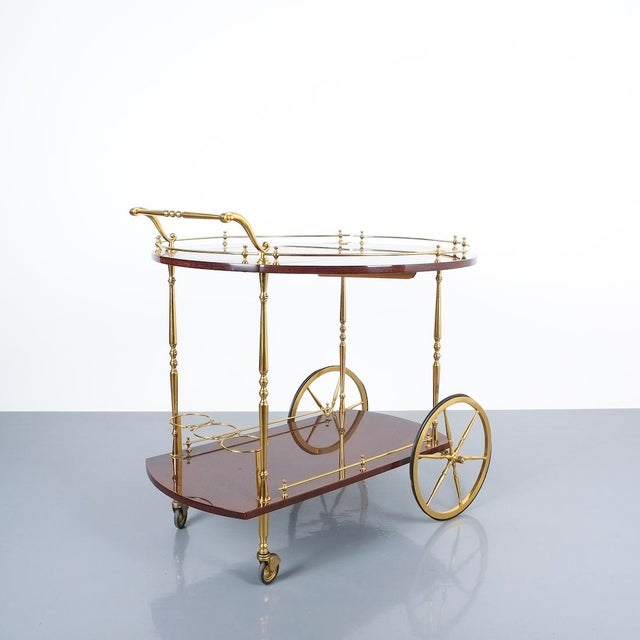 Aldo Tura Aldo Tura Adjustable Brown Parchment Brass Bar Cart, 1960 For Sale - Image 4 of 13