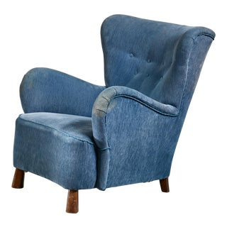Blue Otto Schulz Lounge Chair, Sweden, 1930s For Sale