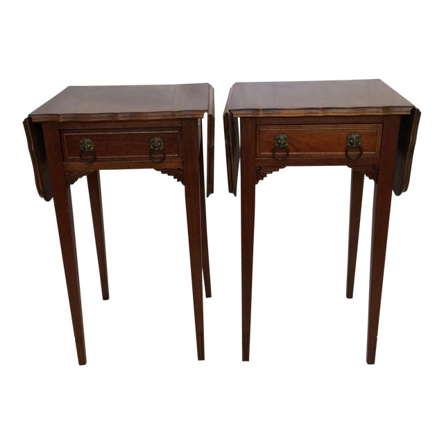Vintage Drop Leaf Side Tables - A Pair - Image 1 of 9