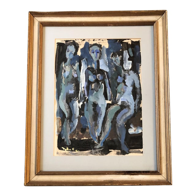Vintage Original Abstract 3 Female Nudes Painting Framed 1982 For Sale