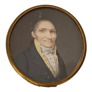19th Century Portrait Miniature of a Man With Yellow V Neck Collar For Sale
