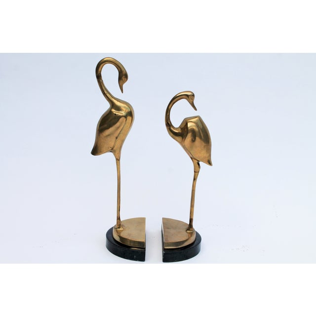 Brass Flamingo Bookends- A Pair - Image 3 of 6