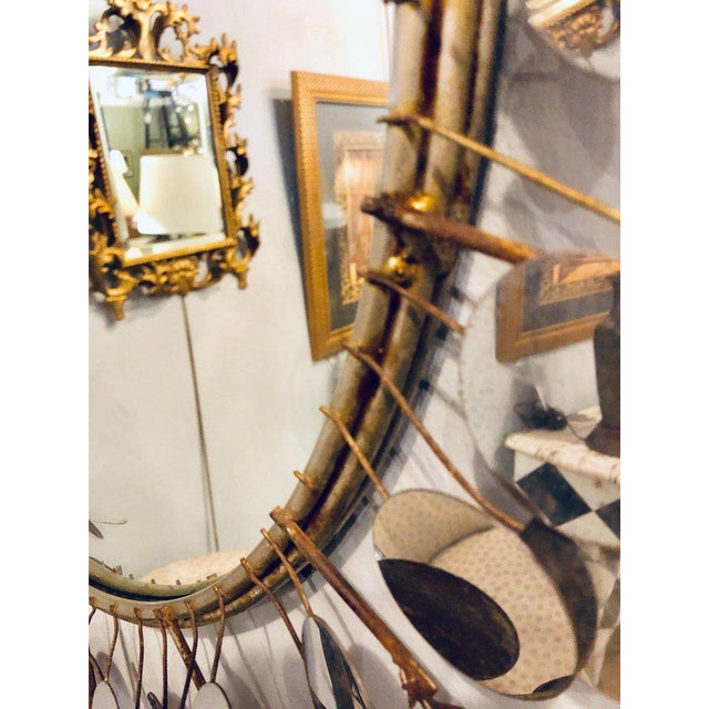 Silver Mid-Century Modern Bamboo Form Frame Mirror with Floating Orbit Spheres For Sale - Image 8 of 12