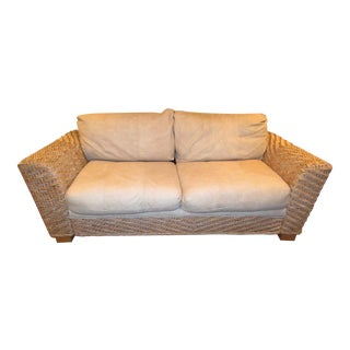 Contemporary Benchcraft White Wicker and Rattan Sofa For Sale