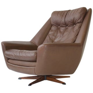 H. W. Klein Swivel Leather Lounge Chair For Sale