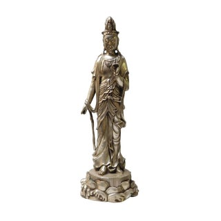 Handmade Silver-Gilt Standing Meditate Kwan Yin , Bodhisattva , Guanyin Statue on Lotus For Sale