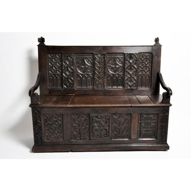 17th Century French Gothic Oak Hall Bench For Sale - Image 13 of 13