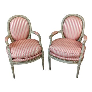 18th C. Louis XVI Striped Upholstered Fauteuils Chairs -A Pair