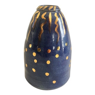 Small Blue and Gold Art Pottery Vase For Sale