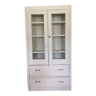 19th Century Primitive White Farmhouse Cabinet