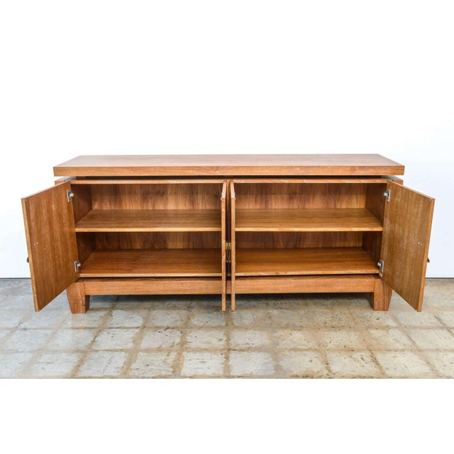 Mid-Century Modern French Modern Cerused Oak and Leather Four-Door Credenza, Style of Jacques Adnet For Sale - Image 3 of 9