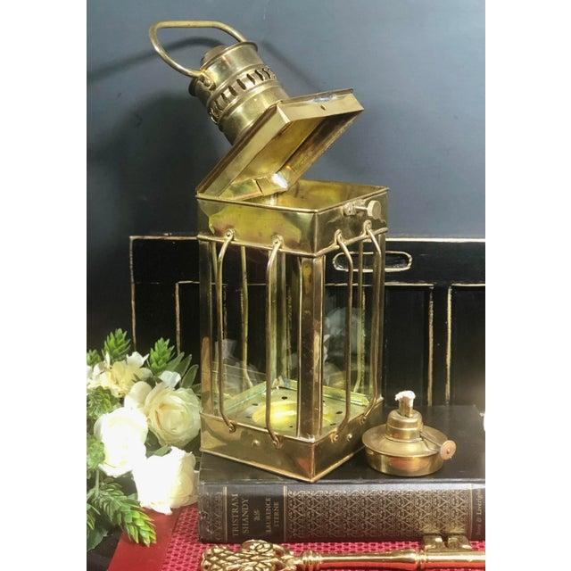 Metal Vintage Nautical Marine Solid Brass Lantern Oil Lamp For Sale - Image 7 of 12