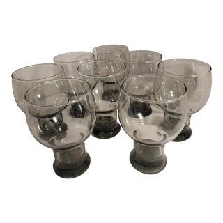 Vintage Libbey Black Smoke Glasses - Set of 8 For Sale