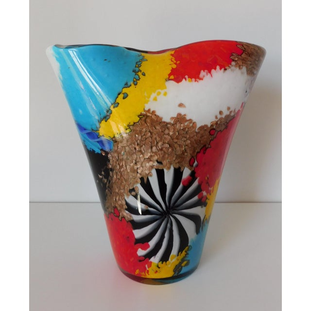 Glass Dino Martens for Aureliano Toso Murano Oriente Patchwork With Pinwheel Vase For Sale - Image 7 of 7