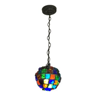 Mid-Century Pendant Stained Glass Brutalist Light Fixture For Sale