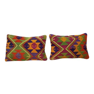 Vintage Kilim Pillow Covers - A Pair For Sale