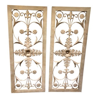 French Style Wrought Iron Panels, Pair For Sale