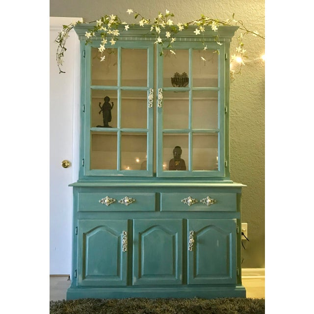 """Blue French Provincial """"Annabel"""" China Cabinet - Image 5 of 11"""