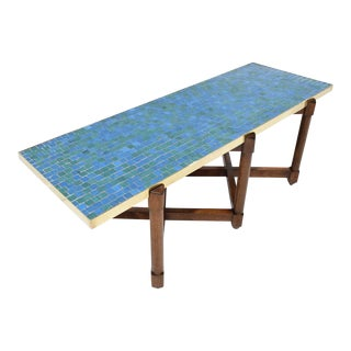 Edward Wormley for Dunbar Cocktail Table With Glass Tile Top and Brass Trim For Sale