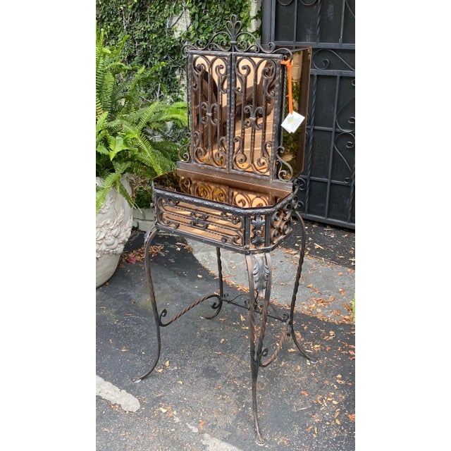 Antique Art Deco Spanish Wrought Iron Champagne Mirrored Vanity & Chair - a Pair For Sale - Image 9 of 11