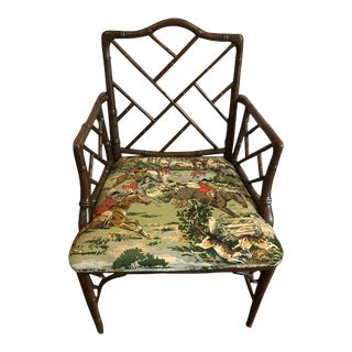 Vintage Mid Century Chinese Chippendale Accent Chair For Sale