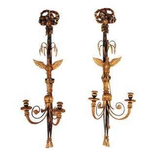 Pair of 19th C. Hand Carved French Empire Eagle Wall Sconces Candle Holders
