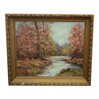 Vintage Oil on Canvas Painting Picture of a River & Trees by H. Ritchie As-Is For Sale