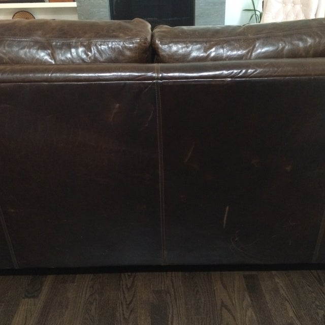 Restoration Hardware Leather Queen Sleeper Sofa - Image 8 of 11