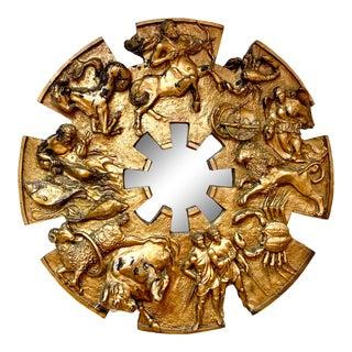 1970s Brutalist Round Gold Relief Zodiac Sign Mirror For Sale