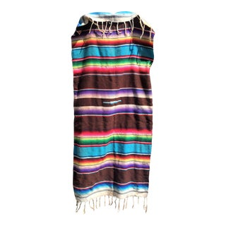 Vintage Striped Serape Throw For Sale