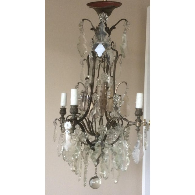 Rococo French Four Light Chandelier With Cut Crystal Prisms For Sale - Image 3 of 12